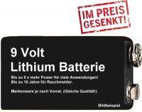 Lithium 9V Block Batterie für Rauchmelder u.a. bis zu 10 Jahre Lebensdauer