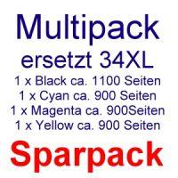 Druckerpatronen Sparpaket ersetzt EPSON T3471 bis T3474 / 34 XL (4 kompatible Patronen)